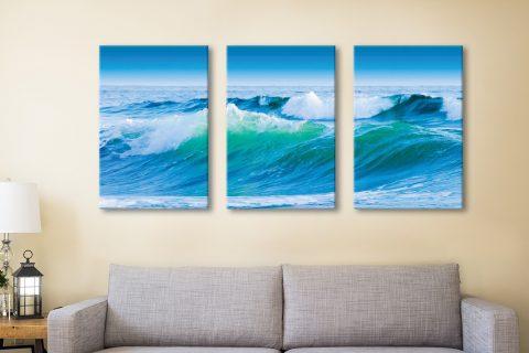 Buy Azure Seas Triptych Canvas Wall Art