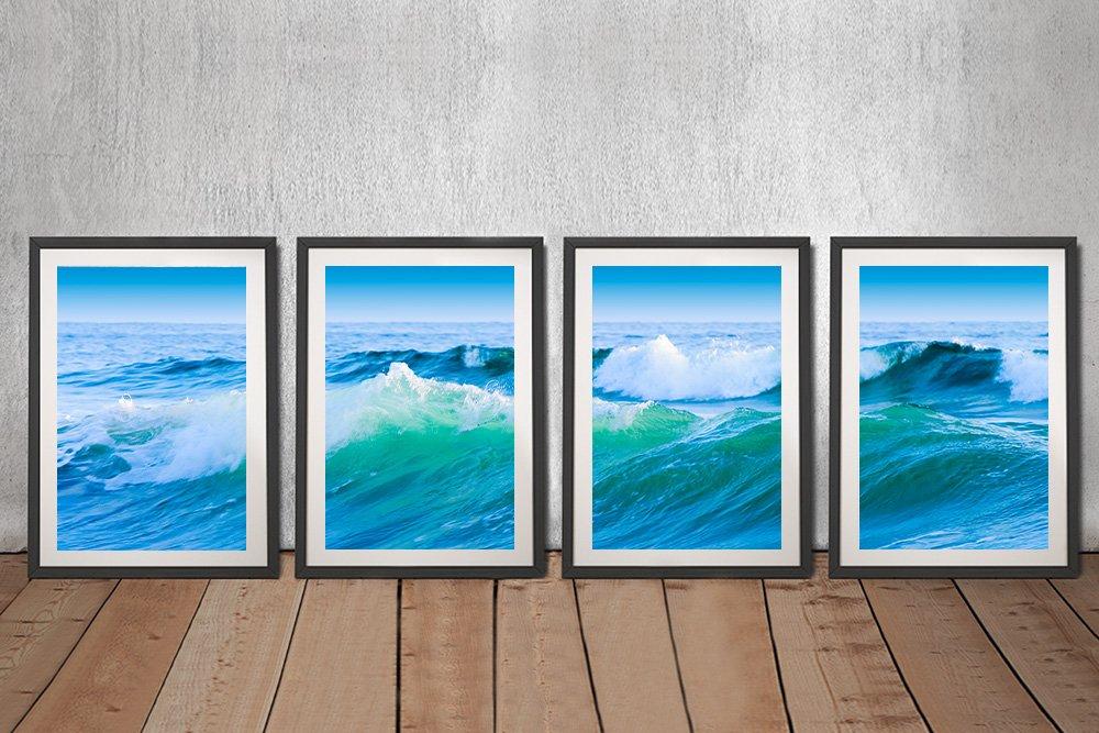 Azure Seas Split-Panel Framed Art Set