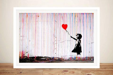 Framed Banksy Colourful Canvas Art for Sale