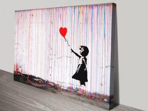 Colourful Rain Banksy Hybrid Canvas Art