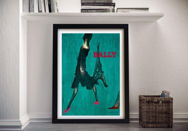 Bally Green Framed Vintage Poster Art