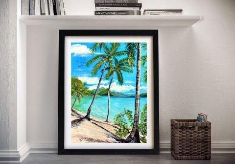 Framed Linda Callaghan Beach Scene Art AU