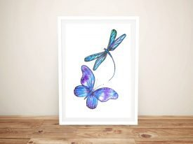 Butterfly & Dragonfly Framed Canvas Art
