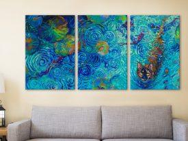 Coy Kitty Triptych Iris Scott Print on Canvas