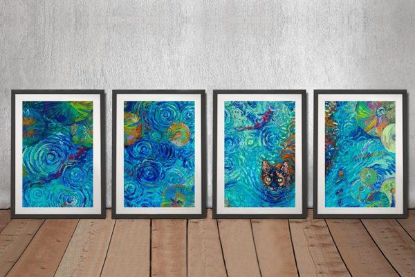 Coy Kitty Framed 4-Panel Iris Scott Art for Sale