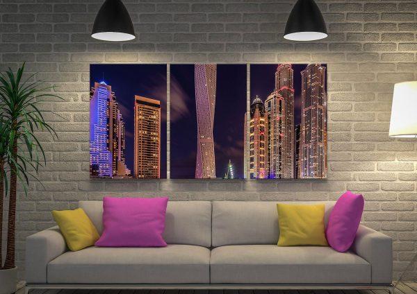 Buy Dubai by Night Split Panel Skyline Art