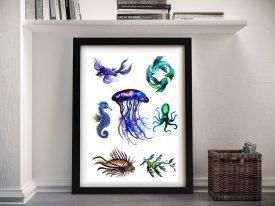 Sea Creatures Framed Vivid Abstract Art