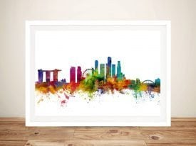 Colourful Singapore Skyline Print on Canvas