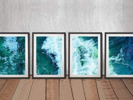 Surf Break Framed 4-Piece Split Panel Art
