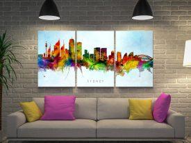 Sydney Skyline Multicoloured Triptych Art