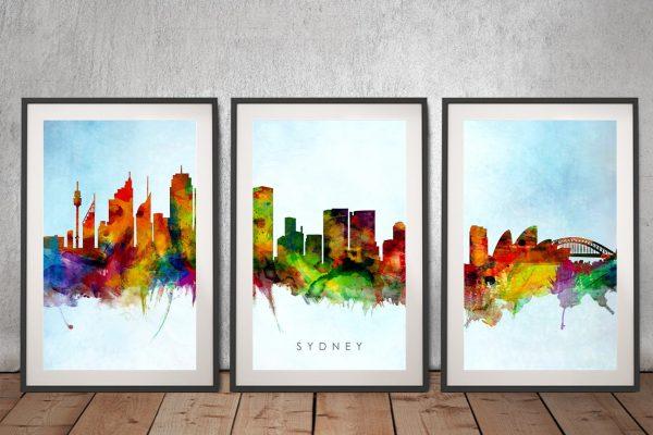 Colourful Sydney Skyline Art Home Decor Ideas