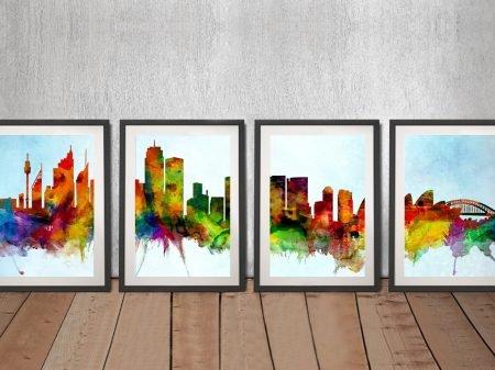 Watercolour Sydney Skyline 4-Piece Set