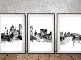 Sydney Skyline Triptych Art in Black Tones