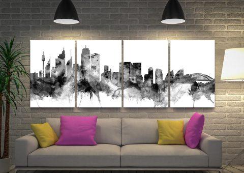 Sydney Skyline 4-Panel Wall Art in Black