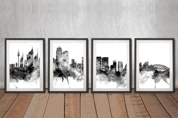 Framed Watercolour Skyline Prints Gift Ideas AU