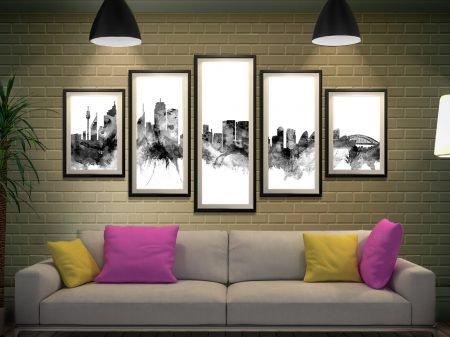 Framed Sydney Skyline Black Tones 5-Piece Set