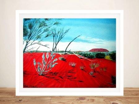 Framed Uluru from a Distance Canvas Print