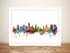 Honolulu Skyline Colourful Framed Print