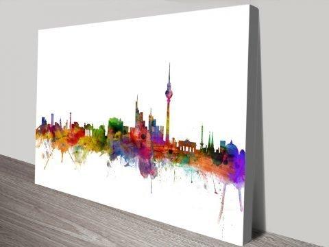 Berlin Skyline Colourful Print on Canvas