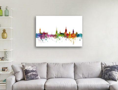 Stockholm Skyline Watercolour Wall Art AU