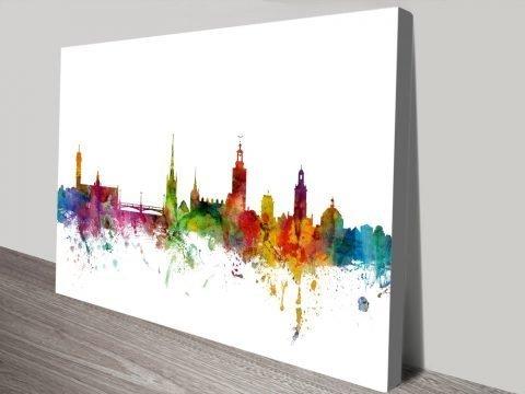Buy a Colourful Stockholm Skyline Print