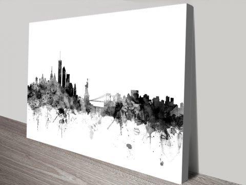 New York Skyline Black Watercolour Wall Art