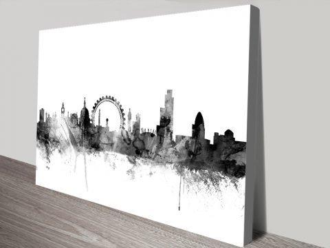 London Skyline Black Watercolour Print