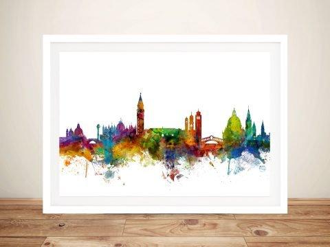 Framed Venice Skyline Watercolour Wall Art