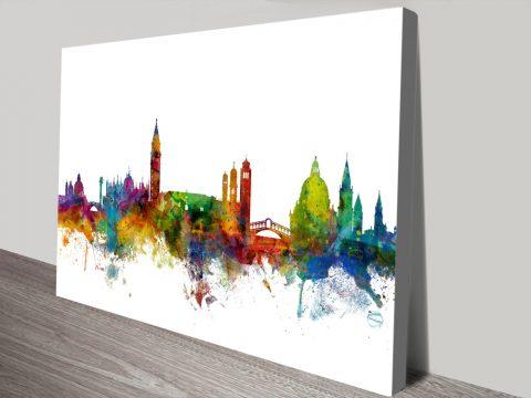 Venice Watercolour Skyline Canvas Art