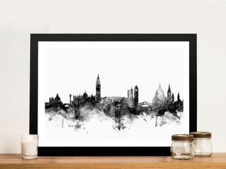 Framed Venice Skyline Art in Black & White