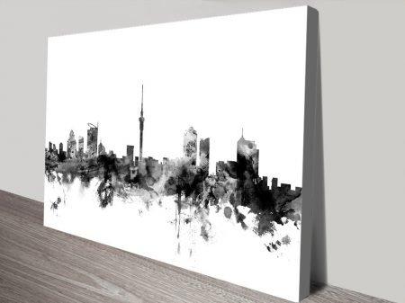 Auckland Skyline Black Watercolour Wall Art