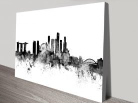 Singapore Skyline Black & White Canvas Art