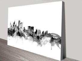 Sydney Skyline Black Watercolour Wall Art