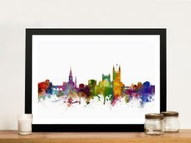Framed Bath Skyline Multicoloured Artwork
