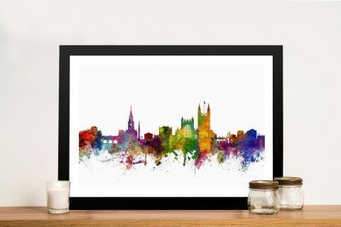 Framed Bath Skyline Multicoloured Artwork