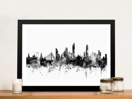 Bangkok Skyline Wall Art in Black & White