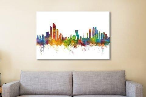 Colourful Abu Dhabi Skyline Art for Sale