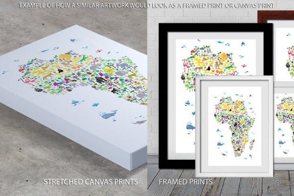 Animal Map Africa Quality Print
