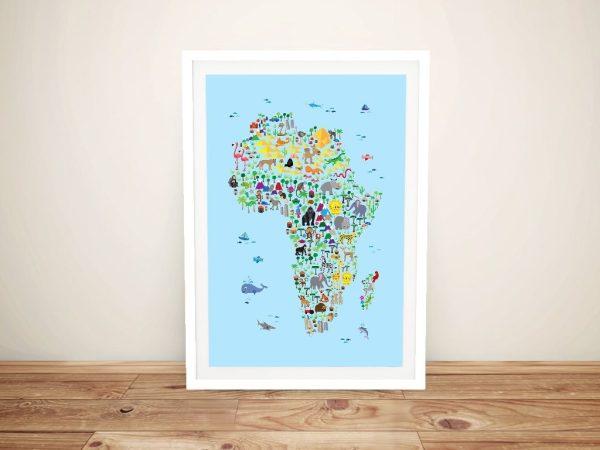 Animal Map of Africa for children-and kids Framed Wall Art
