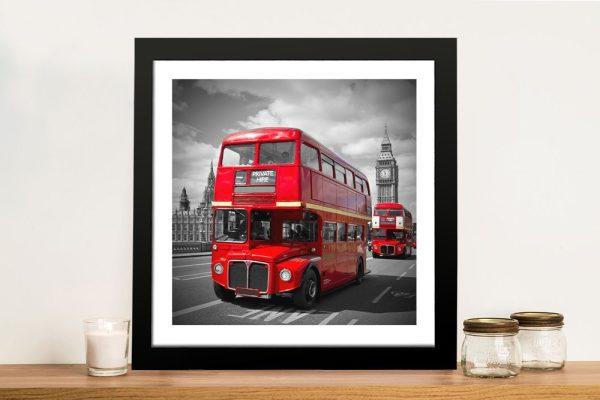 Buy a Framed London Bus Print on Canvas