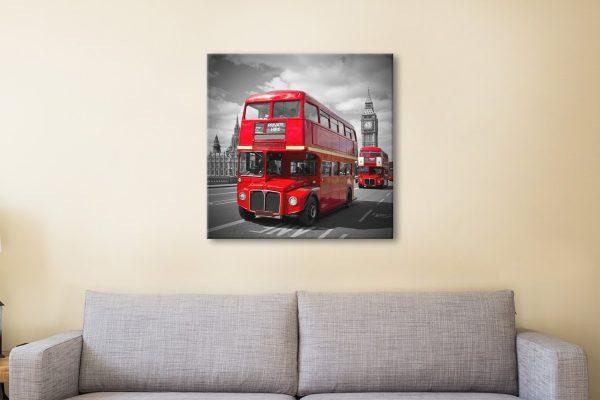 Ready to Hang London Bus Art Cheap Online