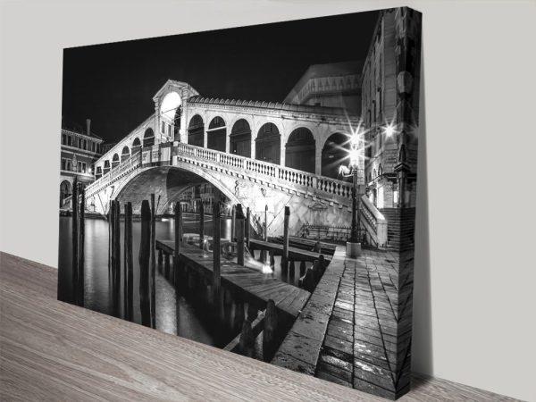 Venice Rialto Bridge at Night Print on Canvas