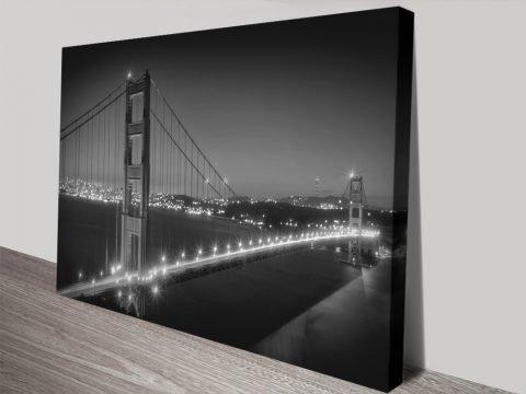 Golden Gate Bridge at Night Quality Print
