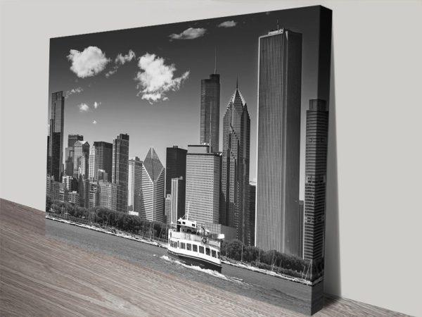 Chicago Skyline Black & White Art for Sale