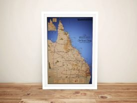Custom Queensland Map Art on Canvas