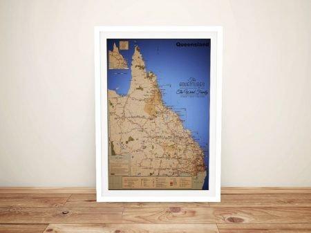 Custom Queensland Map Art on Canvas