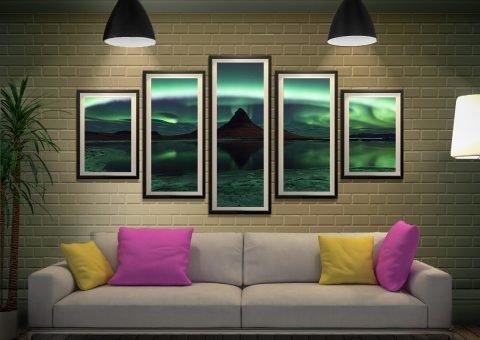 Framed Northern Lights 5-Panel Canvas Art