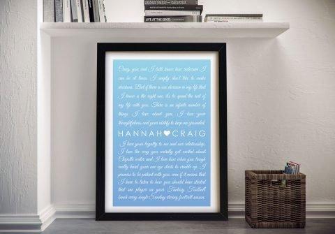 Framed Wedding Vows Personalised Artwork