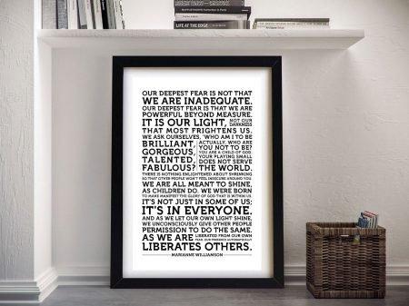 Framed Marianne Williamson Quote Art