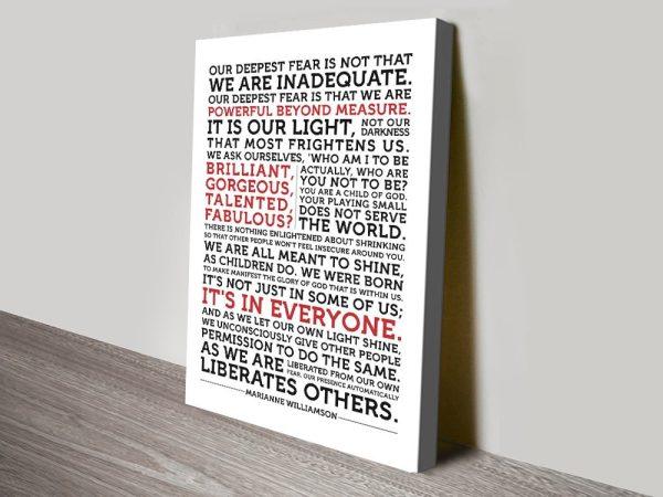Marianne Williamson Quote canvas print